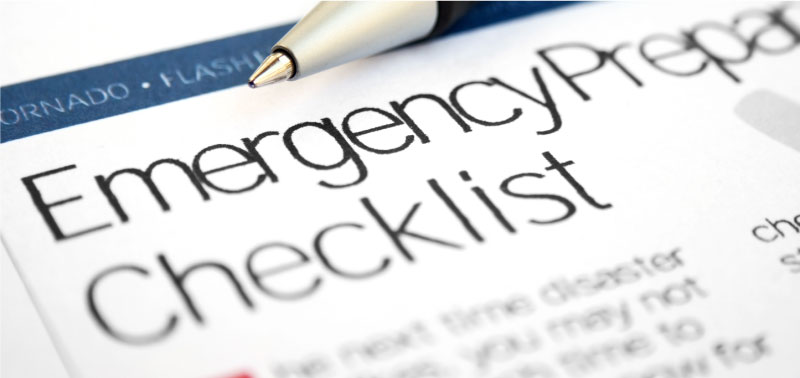 Emergency Preparedness featue image that shows a checklist.