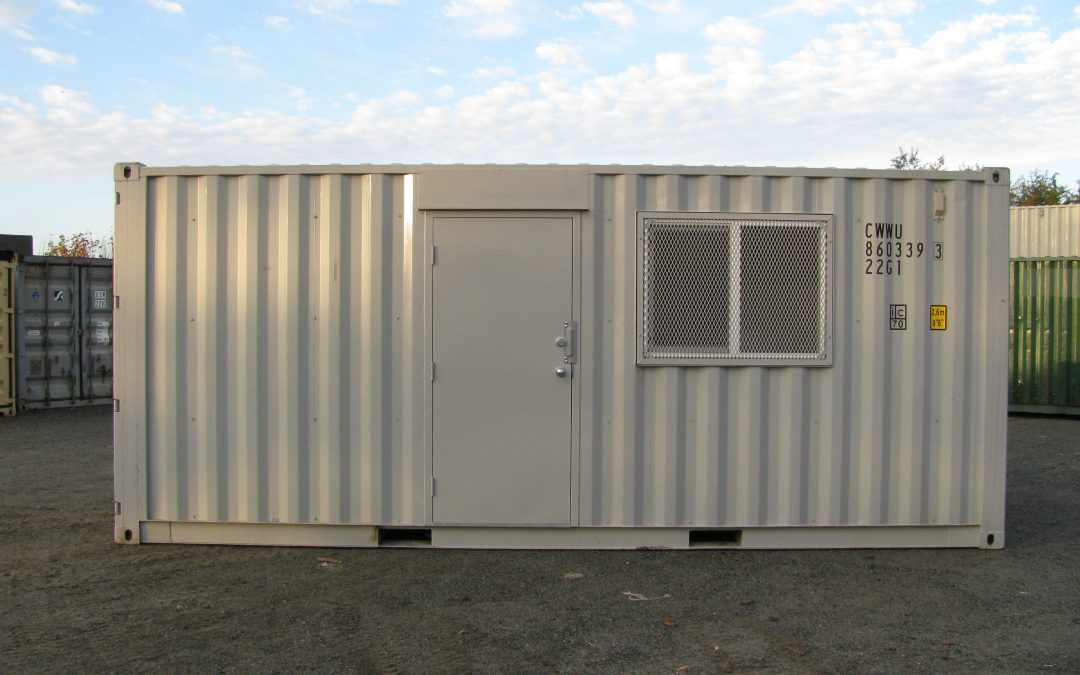Image of a shipping container with a door and window