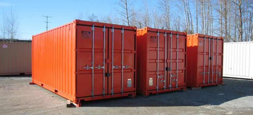 Three orange containers lined up