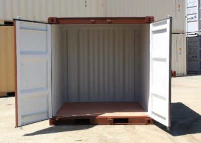 Feature Project Brown Paint image of open container doors